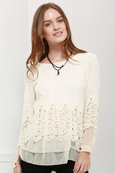 #BFCM #CyberMonday #Dresslily - #Dresslily Long Sleeves Lace Panel Top - AdoreWe.com