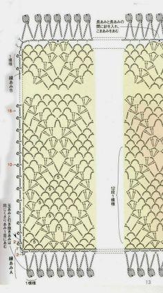 MES FAVORIS TRICOT-CROCHET: Modèle gratuit : Une étole au crochet http://inspirations-tricot-crochet.blogspot.be/2013/11/modele-gratuit-une-etole-au-crochet.html?utm_source=feedburner&utm_medium=email&utm_campaign=Feed:+HomeGardenTricot+%28Home+%26amp;+Garden+TRICOT%29 diagramme châle aéré