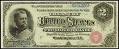 """Paper Money of the United States: 1886 Two Dollar Silver Certificate Hancock Note, Red Seal  Silver certificates were first printed for the two dollar denomination in 1886.  These notes are called """"Hancock"""" notes by collectors because 1886 $2 bills feature the portrait of General Winfield Scott Hancock,Union general during Civil War"""
