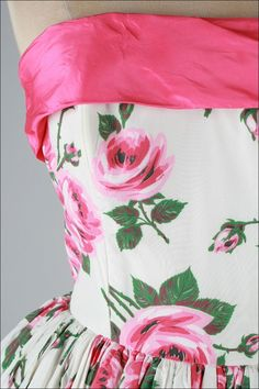 Vintage 1950's Pink Roses White Bubble Hem Strapless Dress