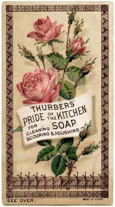 thurbers kitchen, Victorian advertising card, vintage trading card, shabby roses illustration, vintage ephemera graphics