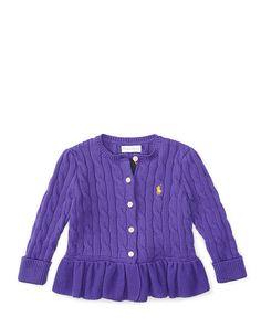 Combed Cotton Peplum Cardigan - Baby Girl Sweaters - RalphLauren.com