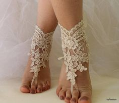Browse unique items from byPassion on Etsy, a global marketplace of handmade, vintage and creative goods. Beach Wedding Shoes, Beach Shoes, Beach Weddings, Beach Sandals, Bridal Lace, Bridal Shoes, Lace Wedding, Bare Foot Sandals, Lace Up Sandals
