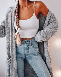 Long cardigan + cami.
