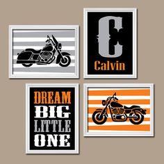 MOTORCYCLE Wall Art  CANVAS or Prints Orange Black by TRMdesign