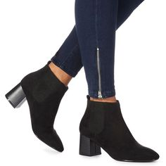 75304614006 Faith Black  Bromance  high block heel Chelsea boots