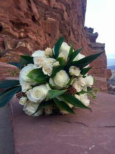 White rose bridal bouquet, red rocks Colorado