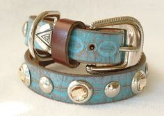 Western Leather Dog Collar with Turquoise Crackle by Studio1070, $45.00