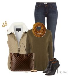 """""""Puffer Vest"""" by ksims-1 ❤ liked on Polyvore featuring mode, Paige Denim, LE3NO, Biba, Louis Vuitton, La Fiorentina, Badgley Mischka, H&M en The Limited"""
