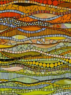Glass mosaic in lemon, lime and orange by Michellejourno Stone Mosaic, Mosaic Glass, Mosaic Tiles, Mosaics, Mosaic Mirrors, Mosaic Crafts, Mosaic Projects, Glass Wall Art, Stained Glass Art