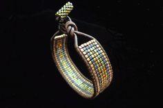 Single Leather Wrap with Miyuki Square Cut Seed Beads by beadbound