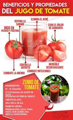 Beneficios del Jugo de tomate y Propiedades #infografia #salud #saludable #tomate #beneficios #propiedades