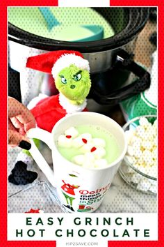 holiday treats Looking for a delicious holiday treat that the entire family will love? This Grinch inspired Crock-Pot Hot Chocolate Party Drink will be a hit with the kiddos and the adults too! Fire up your slow cooker and make this for your next party! Grinch Party, Grinch Drink, Le Grinch, Grinch Christmas Party, Christmas Snacks, Christmas Breakfast, Christmas Cooking, Christmas Goodies, Christmas Holiday