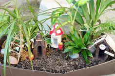miniatur garten gestalten vogelfutterhäuschen pflanzen