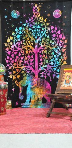 Dorm Tree Elephant Tapestry Tapestries, Hippie Tapestry Wall Hanging, Elephant Wall Tapestries, Indian Tapestry, Bohemian Dorm Tapestries