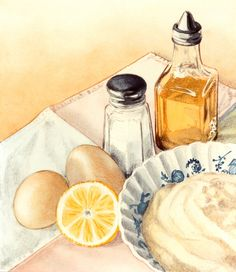 Food illustrations - Mayo recipe by Luc Normandin  watercolor glass egg art watercolor