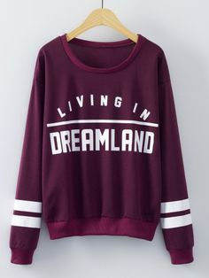 SheIn offers Burgundy Round Neck Letters Print Sweatshirt & more to fit your fashionable needs. Source by Sweatshirts Online, Hoodie Sweatshirts, Printed Sweatshirts, Hoodies, Sweatshirt Outfit, Sweat Shirt, Winter Blouses, Purple Long Sleeve Tops, Mode Grunge