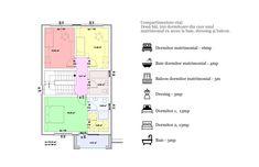 Compartimentare etaj: Două băi, trei dormitoare din care unul matrimonial cu acces la baie, dressing și balcon. Floor Plans, Diagram, House, Ideas, Home, Haus, Houses, Thoughts, Homes