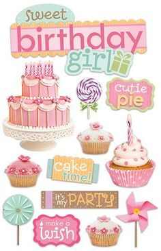 Paper House Productions - 3 Dimensional Cardstock Stickers with Glitter Glossy and Jewel Accents - Sweet Birthday Girl Birthday Clipart, It's Your Birthday, Girl Birthday, Birthday Cards, Printable Designs, Printable Stickers, Planner Stickers, Birthday Pictures, Birthday Images