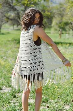 Crocheted vest with Open Front and Fringed Hemline. Measurement Approximately 35 inches from Shoulder to Hem, 8 inches of Fringe. Spring Knit Vest in Patterned Crochet image of delilah vest - PIPicStats Black Crochet Dress, Crochet Jacket, Knit Vest, Crochet Cardigan, Crochet Shawl, Crochet Vests, Crochet Vest Pattern, Crochet Patterns, Pattern Sewing