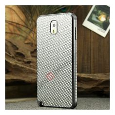 Aluminium Metal Bumper and Carbon fiber Protective back Case For Samsung Galaxy Note 3 N9000 - Grey/Silver US$25.99