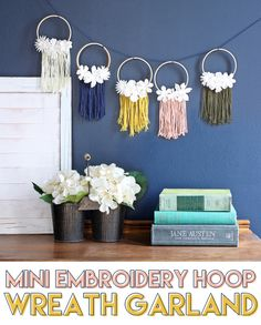 mini embroidery hoop wreath garland craft tutorial #diy #diycraft #macrame #Garland