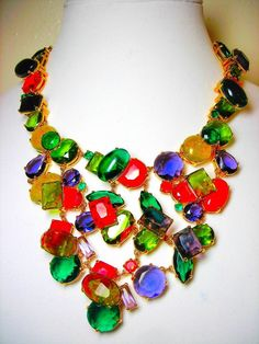 Rare Kate Spade Crystal Candy Cluster Necklace Chain Red Orange Green Purple  #KateSpade #Cluster