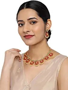 Buy Zaveri Pearls Gold Tone Traditional Temple Choker Necklace Set For Women-ZPFK8983 at Amazon.in Necklace Set, Necklace Lengths, Gold Necklace, Gold Choker, Gold Plated Necklace, Indian Necklace, Indian Jewelry, Fashion Jewelry Stores, Fashion Jewellery