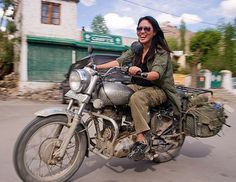 woman riding royal enfield bullet motorcycle, grace liew, india - Click photo to visit site and view larger image Bullet Motorcycle, Girl Riding Motorcycle, Women Riding Motorcycles, Motorbike Girl, Motorcycle Touring, Bmw Nine T Scrambler, Bmw Adventure Bike, Royal Enfield Bullet, Bike Style
