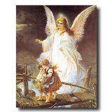 Guardian Angel With Children On Bridge Religious Picture Art Print