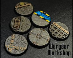 32mm Sci-Fi Bases Pack 2 Warhammer Paint, Warhammer 40k, Miniature Bases, Sci Fi Miniatures, Imperial Fist, Modeling Techniques, Painted Pots, Tabletop Games, 3d Printing