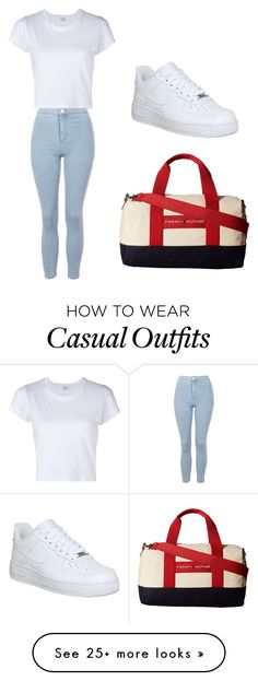 """""""casual"""" by jennx-xoxo on Polyvore featuring RE/DONE, NIKE, Tommy Hilfiger and Topshop"""