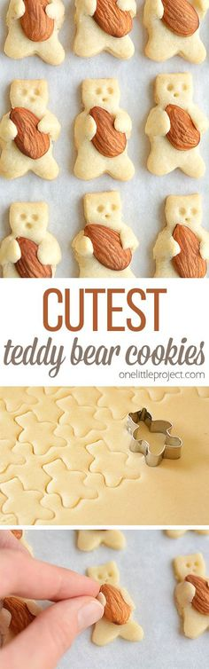 These teddy bear cookies are SO CUTE and they taste amazing! They look like the… These teddy bear cookies are SO CUTE and they taste amazing! They look like they are hugging the almonds! They're simple to make and completely adorable! Cookie Desserts, Just Desserts, Cookie Recipes, Dessert Recipes, Teddy Bear Cookies, Teddy Bears, Christmas Baking, Christmas Recipes, Creative Food