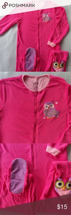 "Nick & Nora Fleece Owl Pajama Suit Footed S 🐣Great pre-owned condition. 1 piece onesie zip-up footed. Cute, warm, cozy 🐣 Polyester - fleece. 2 side pockets.  Measurements when lying flat: Length from shoulder to foot 57"" Shoulders 15"" Armpits 19.5"" Armpit to end of sleeve 18"" Inseam 31"" Nick & Nora Intimates & Sleepwear Pajamas"