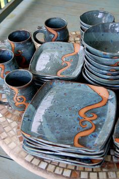 Service for Eight in Slate Blue with Rust Waves Dinnerware Set - Made to Order - plates - Hand Built Pottery, Slab Pottery, Ceramic Pottery, Pottery Art, Thrown Pottery, Clay Plates, Ceramic Plates, Stoneware Clay, Ceramic Clay