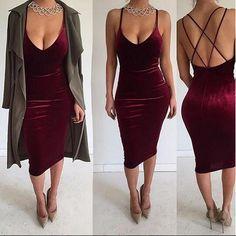Deep V-neck Sleeveless Backless Sexy Club Bodycon Skinny Pleuche Dress - Oh Yours Fashion - 1