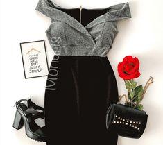 Rochie de seara ieftina stramta neagra cu corset argintiu stralucitor Polyvore, Style, Fashion, African Dress, Vestidos, Swag, Moda, Fashion Styles, Fashion Illustrations