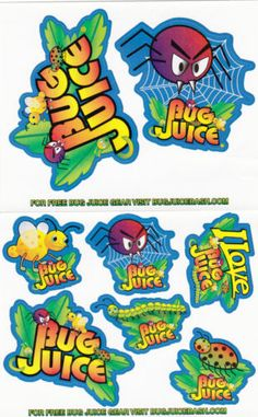 (8) Eight Bug Juice Stickers Free Shipping