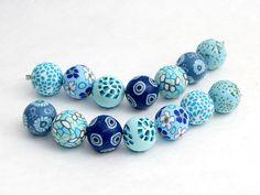 Arktis Perlenset aus Polymer Clay handgefertigt von polymerdesign