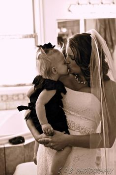 so sweet, my daughter was sick on my wedding day and wouldn't take a nice pic with me