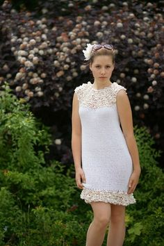 Hand-knitted Silk cotton knit  short wedding dress FREE SHIPPING. $368.00, via Etsy.