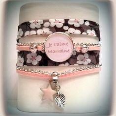 Bracelet trois rangs coloris marron/taupe et rose