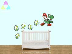 Baby Super Mario and Yoshi and Eggs - Large Wall / Nursery / Crib Decal - Nintendo. $55.00, via Etsy.