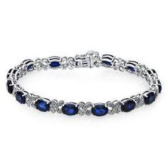 Lab-Created Blue Sapphire Bracelet in Sterling Silver - Colored Gem Bracelets - Bracelets - Jewelry - Categories - Helzberg Diamonds