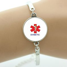 Diabetic Diabetes Bracelet Plated Insulin Dependent Medical Alert Wristband (Silver Plated) -- Find out more about the great product at the image link.