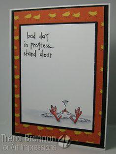 Fainted Chicken (Sku#D1878)  Bad Day (Sku#G4185), Art Impressions