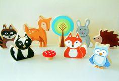 Famiglia di animali Woodland  tutto legno giocattolo Set di Zooble