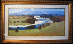 This is a Ken Farrow larger original oil titled 'Along the Hawkesbury' NSW. Lower right 'Farrow'. KEN FARROW captures the diversity of landscape from Australia's beaches to the mountains and beyond to the Outback. New South, South Wales, Australia, Oil, Landscape, The Originals, Beach, Painting, Scenery