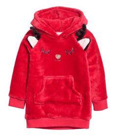 Huvtröja i fleece   Röd/Ren   BARN   H&M SE