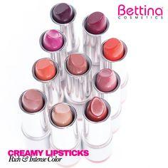 Estos son los #Bettina Creamy & Rich #Lipstick de #BettinaCosmetics… ¿Cuál usarás hoy?